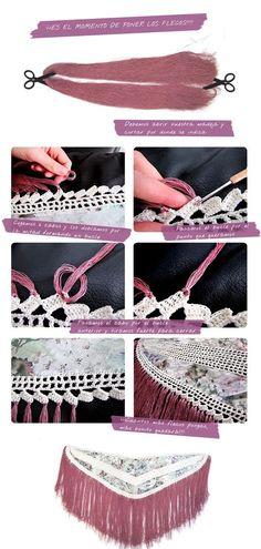 como hacer mantoncillo flamenca 4 ¿Como hacer un mantoncillo de flamenca? #DIY Doll Dress Patterns, Dress Making Patterns, Lace Patterns, Poncho Au Crochet, Crochet Wool, Flamenco Costume, Types Of Embroidery, Crochet Diagram, Boho Diy