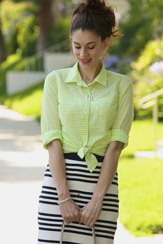 Gingham shirt and striped skirt