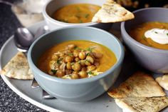 carrot soup with tahini and crisped chickpeas by smitten, via Flickr