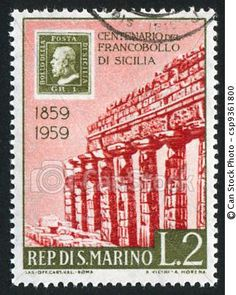 San Marino stamp on a Sicilian temple (1959)