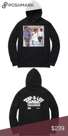 Supreme NYC Rap A Lot Records Geto Boys Hoodie Cotton Cross grain fleece with pouch pocket. Printed graphic on front and back. Original album artwork from Geto Boy's We Can't Be Stopped. Supreme Shirts Sweatshirts & Hoodies