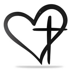 Made from high quality steel. Each piece is powder coated to prevent it from rusting, making it great for indoor or outdoor use. Body Art Tattoos, Small Tattoos, Cool Tattoos, Tatoos, Cross Heart Tattoos, 27 Tattoo, Cross Drawing, Dna Drawing, Christian Symbols