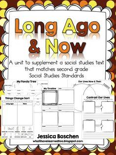 Long Ago & Now: A unit to supplement a social studies text that matches second grade social studies standards. $6.50