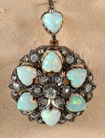 Victorian silver and gold set heart shaped opal and diamond brooch / pendant! Ca. 1900