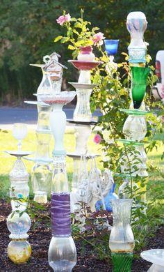 glass garden -- repurposed glassware sculpture