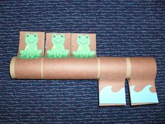 "How cute! A ""tube story"" to go with Five Green and Speckled Frogs! Staple the pieces around a paper towel tube. Turn them up as you sing the song. Singing is a fun way to reinforce counting skills with your little one. Learning can be fun!"