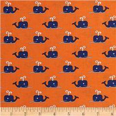 All Hands On Deck Whales Orange