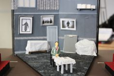Model box for Fragile. A model box is a scale model to show how the set will look in 3D. Set designed by Nicky Bunch.
