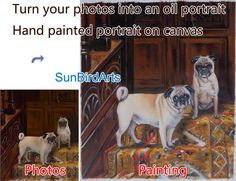 Custom original pet oil portrait painting-photos by SunBirdArts