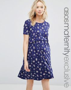 Image 1 of ASOS Maternity NURSING Printed Double Layer Dress