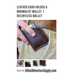 Simple wallet available at alloutadventuresupply.com *Pin this to your inspiration board!* #leather #wallet #menswallet #giftsforhim #leatherwallet