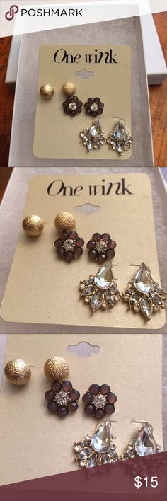 3 Pairs of Sparkly Glittery Earrings  3 Pairs of Sparkly Glittery Earrings  Perfect Mother's Day gift  for the jewelry lover Trendy Fashion Set!  Giftbox include❣️ Jewelry Earrings
