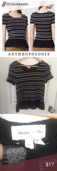 Anthropologie Meadow Rue Black Stretch Peplum Top Anthropologie Meadow Rue Black Stretch Peplum Top. 18 inch bust. 24 inches long. Great condition. Feel free to make an offer or bundle & save! Anthropologie Tops Blouses