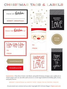 Free Printable Holiday Tags | Papercrave.com