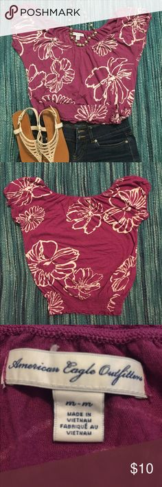 American Eagle shirt This is loose up top then fitted at the waste to help create a nice figure. Easy to dress up or down. It's pretty light and comfy too. American Eagle Outfitters Tops Blouses