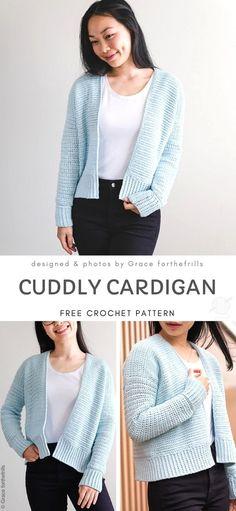 Comfy and Cute Crochet Cardigans Crochet Cardigan Pattern Free Women, Diy Crochet Cardigan, Crochet Stitches Free, Shrug Cardigan, Chunky Crochet, Cute Crochet, Beautiful Crochet, Crochet Patterns, Chunky Cardigan