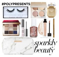 """#PolyPresents: Sparkly Beauty"" by itsjana ❤ liked on Polyvore featuring beauty, Essie, Spectrum, Bobbi Brown Cosmetics, Urban Decay, Huda Beauty, NYX, Victoria's Secret, contestentry and polyPresents"