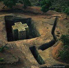 Church carved out of one single volcano rock in Ethiopia