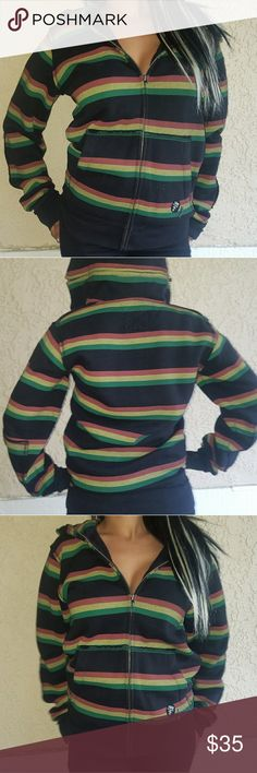 Fallen Rasta Zip-Up Hoodie SIZE: Mens Small. Fits like a Woman's S-M  Detachable Hood  Worn a couple times.  In Excellent Condition. Fallen Tops Sweatshirts & Hoodies