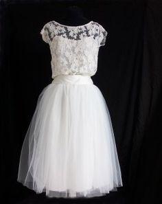 Robe de mariée courte, top en dentelle de calais