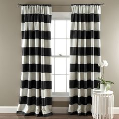 Stripe blackout window panels keeps the room dark by blocking sunlight. Because of the blackout feature, these curtains are energy efficient adding to better temperature regulation of the room. 3' Rod
