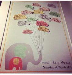 #BabyShower #GuestBook #Elephant #Cloud - Elephant Framed Baby Shower Guest Book, available on request from Yarm Calligraphy http://www.yarmcalligraphy.co.uk/babyshowerstationery.html