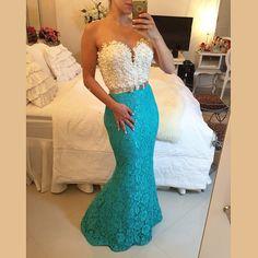 Barato Robes de soirée pérolas frisada branco e azul vestido longo sereia vestido de noite X 010, Compro Qualidade Vestidos de Noite diretamente de fornecedores da China: