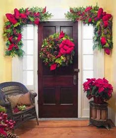 Wreaths are beautiful decoration item on christmas attractive people with the fresh flowers, pine leaves, berries and other emblishments use. Outdoor Christmas Wreaths, Christmas Front Doors, Christmas Swags, Christmas Door, Christmas Holidays, Christmas Ideas, Merry Christmas, Xmax, Xmas Decorations