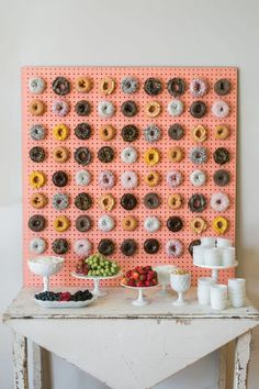 donut wall backdrop - pegboard style but gold