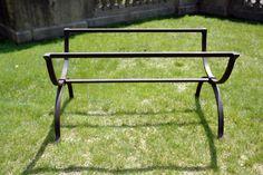 wrought iron trestle table base
