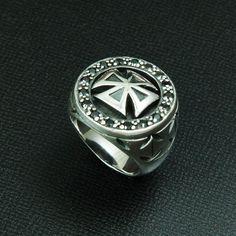 Maltese Cross Black Cz Circle 925 Sterling Silver US size 10 Ring #Handmade