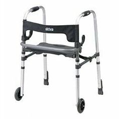 """Clever-Lite LS Walker with Seat and Push Down Brake - Drive Medical by Drive. $93.99. Four Wheel Rollators. No Assembly Required. Inside Hand Grip (Width): 18.5""""; Inside Back Legs (Width): 21.5""""; Width: 27""""; Base Opened (Depth): 24""""; Seat (Width): 17""""; Seat (Depth): 11""""; Seat (Height): 19.5""""-23.5""""; Handle (Height): 32""""-40"""". Aluminum. The Clever Lite LS Walker with Seat and Push Down Brakes by Drive Medical allows individuals to be seated or to use it as a traditio..."""