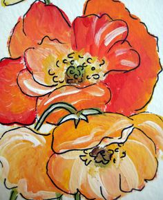 poppies hand painted cards. by thepresentplace on Etsy, $8.00