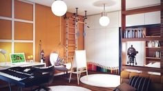 Teen Room: Modern Teenage Bedroom Design With Orange And White Painted Wall With A Wooden Bed A Unique Hammock A Piano Chandelier And White Round Rugs: Cool Rooms For Adolescent With An Esoteric Taste