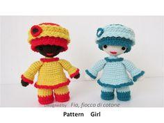 Pattern  Girl   miniature doll amigurumi crochet door cottonflake, €4.20