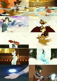 The Legend of Korra/Avatar the Last Airbender: Korra and katara using the same bending moves