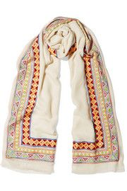 Embellished merino wool and cashmere-blend scarf