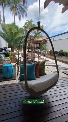 Hanging Swing Chair, Swinging Chair, Porch Chairs, Outdoor Chairs, Small Balcony Decor, Balcony Ideas, Patio Ideas, Deck Furniture, Furniture Ideas