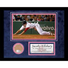 Jacoby Ellsbury Red Sox Mini dirt Collage - Jacoby Ellsbury spent much of 2007 as the 1 prospect in the Boston Red Sox minor league system and the talented outfielder made the most of his opportunities when called up to the big club in Beantown. Ellsbury earned AL Rookie of the Month honors in that September and was a key contributor during Bostons playoff run ending in a World Series Championship. His speed on the bases makes him a constant threat and his all-around game has him primed for…
