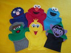 Sesame Street felt puppets -Elmo, Cookie, Grover, Big Bird, Osca Sock Puppets, Hand Puppets, Felt Finger Puppets, Sesame Street Puppets, Elmo Cookies, Puppet Making, Felt Books, Quiet Books, Sewing For Kids