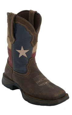 Durago® Lady Rebel™ Women's Distressed Brown w/ Texas Flag Square Toe Western Boot | Cavender's Boot City