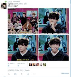 """BTS V and Rap Monster: XD found this on twitter V's Just kinda like... """"this bitch"""""""
