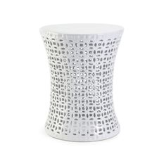 The handcrafted White Gardening Stool is the perfect seat outdoors or in. Take it outside and enjoy fresh air, or use it indoors as an extra seat or side table for guests. The white glaze and cutwork p...  Find the White Gardening Stool, as seen in the Garden Stools Collection at http://dotandbo.com/category/furniture/stools/garden-stools?utm_source=pinterest&utm_medium=organic&db_sku=IMX0179