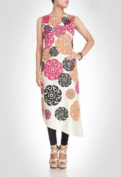 Beige tone cotton suit with abstract floral prints. Shop Now: www.kimaya.in