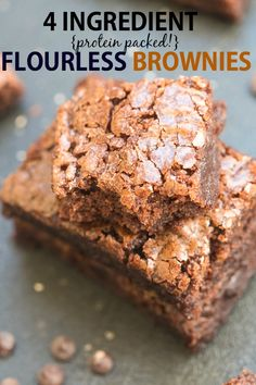 Four ingredient Flourless Protein Packed Brownies recipe- No butter oil or flour needed to make these rich dense subtly sweet brownies packed with protein- A quick and easy snack which DON'T taste healthy! Paleo Dessert, Gluten Free Desserts, Dessert Recipes, Bar Recipes, Dessert Ideas, Free Recipes, Snack Recipes, Brownies Recipe No Butter, Coconut Flour Brownies