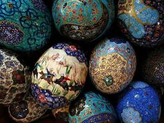 Eggs for Haftsin table. Persian New year tradition.