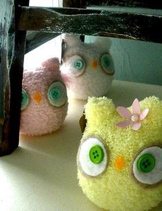 Set of THREE chubby baby owls CUSTOM by ThurztysSockMonsterz, $13.50