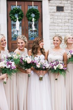 This soft blush Kentucky wedding is sweet as can be with some hints of Irish roots to spice things up. Our favorite part is the stunning floral chandelier that you can't miss! Blush Bridesmaid Dresses, Bridesmaids And Groomsmen, Wedding Bridesmaids, Wedding Dresses, Wedding Film, Dream Wedding, Wedding Day, Wedding Stuff, Marriage Vows