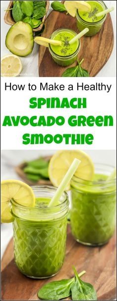 Get your daily dose of healthy green smoothie with this spinach avocado smoothie recipe. Add protein powder and chia seeds for additional nutrients. Avocado green smoothie, avocado spinach smoothie, smoothie with avocado, spinach avocado smoothie, healthy Avocado Smoothie, Protein Fruit Smoothie, Healthy Green Smoothies, Fruit Smoothie Recipes, Healthy Juices, Healthy Drinks, Healthy Shakes, Smoothie Ingredients, Healthy Protein