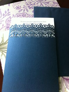 Lace Pocket  Simple Wedding Invitation Laser Cut by CelineDesigns, $4.99